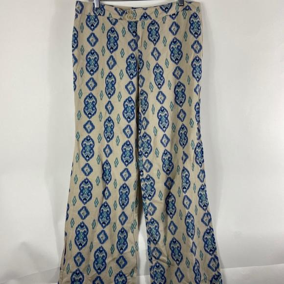 ecru Pants - Ecru Women's Damask Crop Pants Blue Green Linen